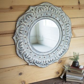 Pressed Metal Flower Mirror