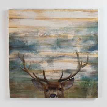 Printed Deer on Wood Planks