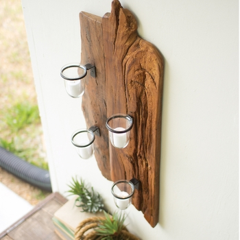 Repurposed Wooden Wall Sconce
