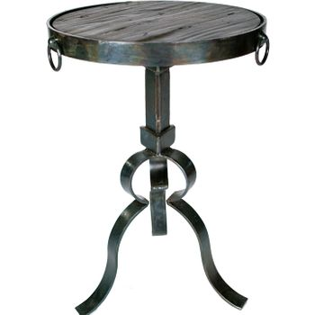 "Iron Accent Table w/ 15"" Wood Top"