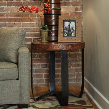 "Round Strap End Table w/ 24"" Top"