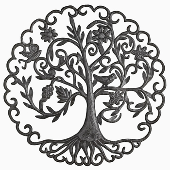Scallop Metal Tree Plaque