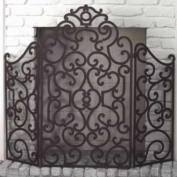 Scroll Fire Screen - Stained Gold