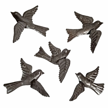 Set of Five Metal Birds