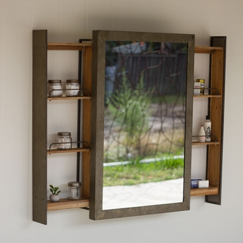 Rolling Mirror Door Shelf