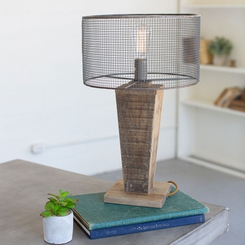 Short Wood & Mesh Table Lamp
