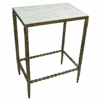 Side Table w/ Inset Marble Top
