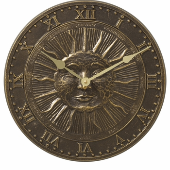 Sun Face Outdoor Garden Clock