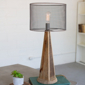 Tall Wood & Mesh Table Lamp