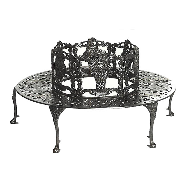 Three Coins Cast Aluminum Tree Bench Iron Accents