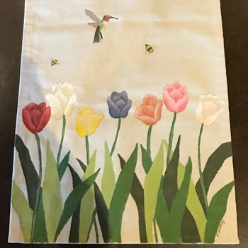 Tulips Hand Painted Runner