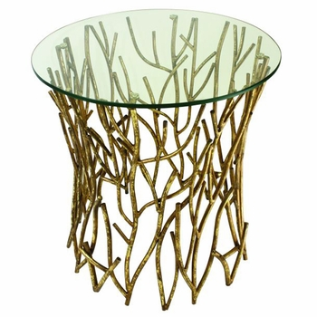 Twig Accent Side Table w/ Glass