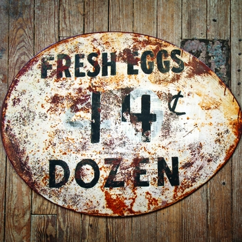 Vintage Style Metal Egg Sign