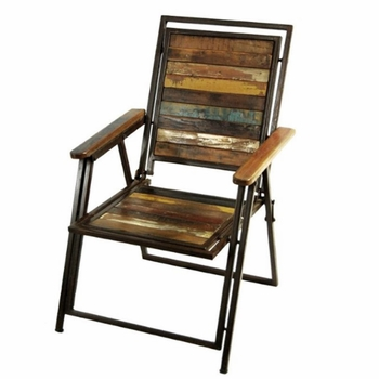 Vintage Wood & Iron Folding Chair