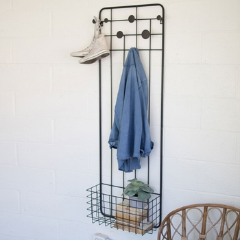 Wall Coat Rack w/ Storage Basket