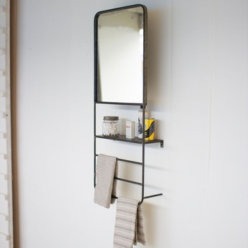 Wall Mirror Shelf w/ Towel Rack