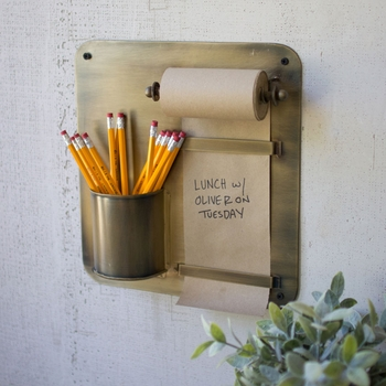 Wall Note Roll w/ Pencil Holder