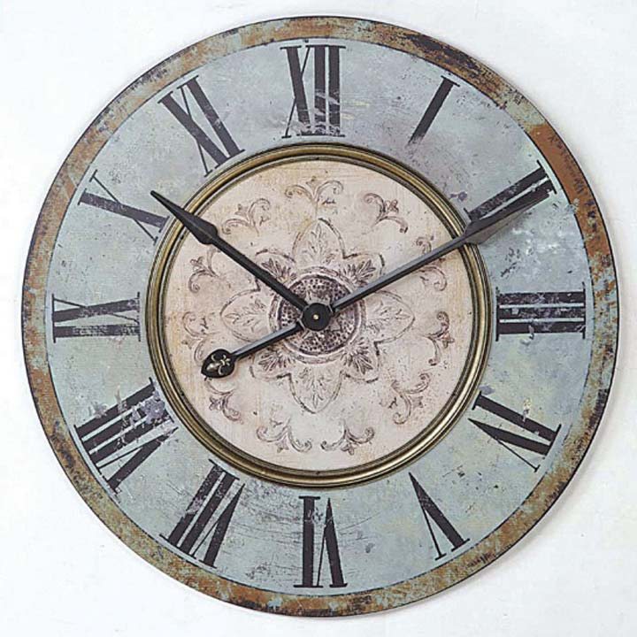 Weathered Wood Wall Clock Iron Accents