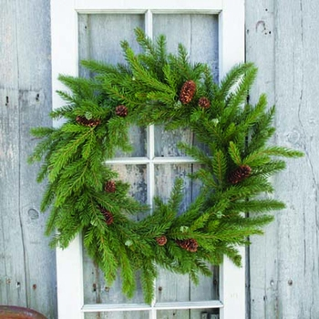 White Spruce Wreath w/ Cones -CS