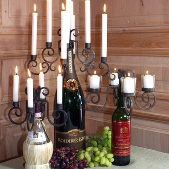 Wine Bottle Candelabras