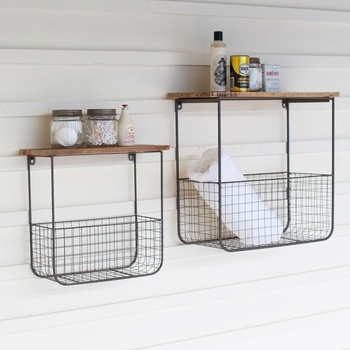 Wire Wall Basket Shelves (Set-2)