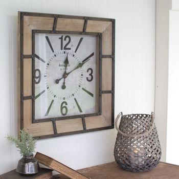 Wood Frame Square Clock