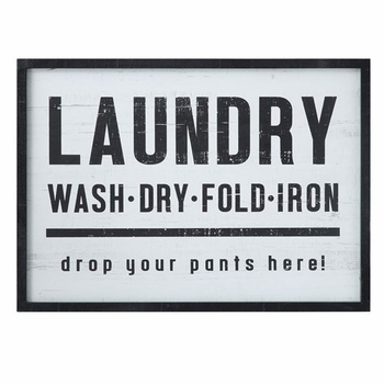 Wood Framed Laundry Wall Decor