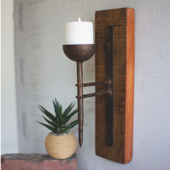 Wood &  Iron Candle Sconce