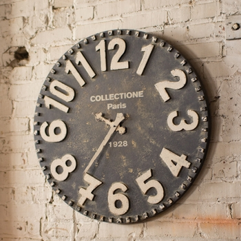 Wooden Black & White Wall Clock