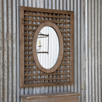 Wooden Lattice with Oval Mirror