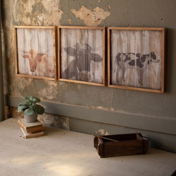 Wooden Panel Cow Prints (Set-3)