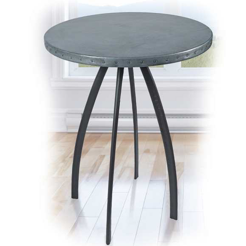 zinc table tops  round  iron accents