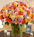 100 Premium Long Stem Multicolored Roses for Mom