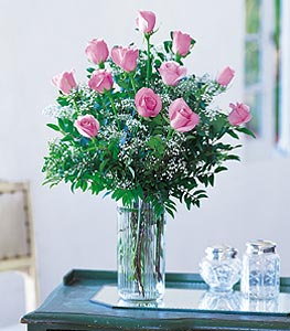 A dozen Pink Light Pink Roses