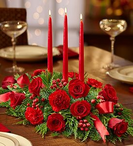 All Red Centerpiece Flowers