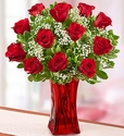 Blooming Love™ 12 Premium Red Roses in Red Vase