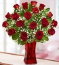 Blooming Love Valentine Day  Premium Red Roses in Red Vase