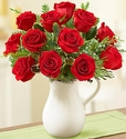 Christmas Pitcher Full of Roses