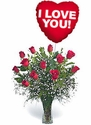 Classic Dozen Rose Arrangement With Mylar Balloon