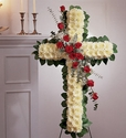 Cross with Roses Sympathy Flowers