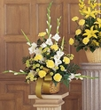Funeral Flower Bouquets >Vibrant Yellow Basket Flowers