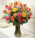 Long Stem Multicolored Roses, 24 Stems