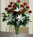 Long-Stem Roses and Lilies Arrangement Vase variety