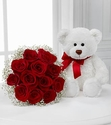 Meant to Be Rose Bouquet with Bear