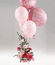 New Baby Pink flowers with a balloon bouquet