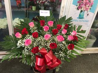 Pink and Red Rose Large Basket