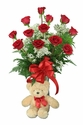 One Dozen Red Roses and Teddy Bear