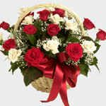 Passion-in-a-Basket RED WHITE ROSE