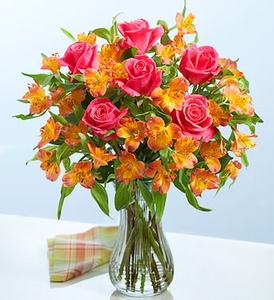 Pink Rose and Orange Peruvian Lily Bouquet