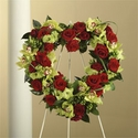 Red heart shaped standing wreath sympathy